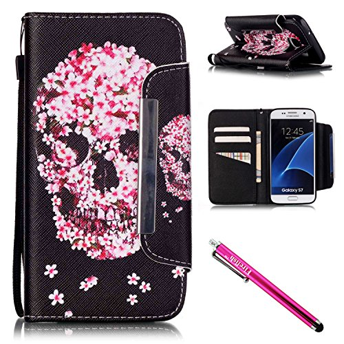 Price comparison product image Galaxy S7 Case, Firefish Kickstand Flip [Card Slots] Wallet Cover Double Layer Bumper Shell with Magnetic Closure Strap Case for Samsung Galaxy S7-Skull