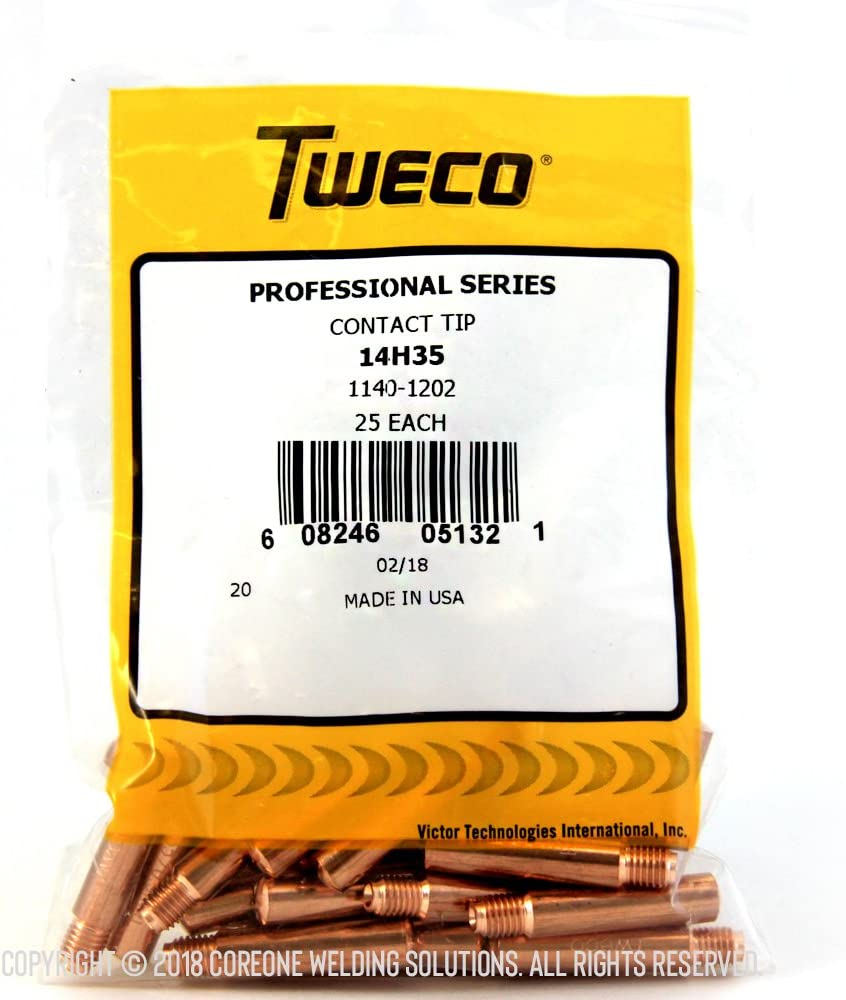 Tweco 1140-1202 14H-35 Contact Tip 25 Pack Heavy Duty 035