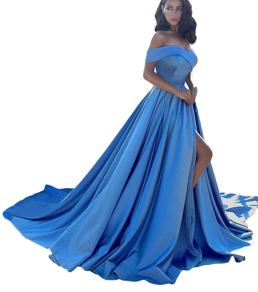 bluee CongYunGe Women's Off Shoulder Prom Evening Dress Long Satin Formal Gowns with Slit