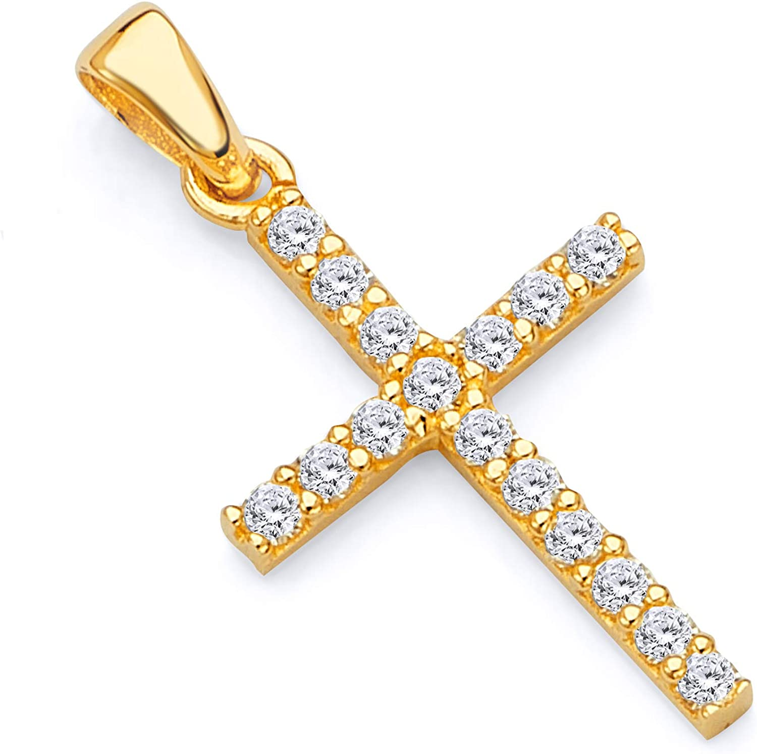 GoldenMine Fine Jewelry Collection 14k White or Yellow Gold Slim Cross CZ Charm Pendant
