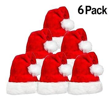 3d8226f93f127 Amazon.com  6 Pack Plush Santa Hat