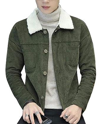 WAWAYA Mens Corduroy Thermal Faux Lambwool Lined Slim Stylish Down Coat Jacket Outerwear