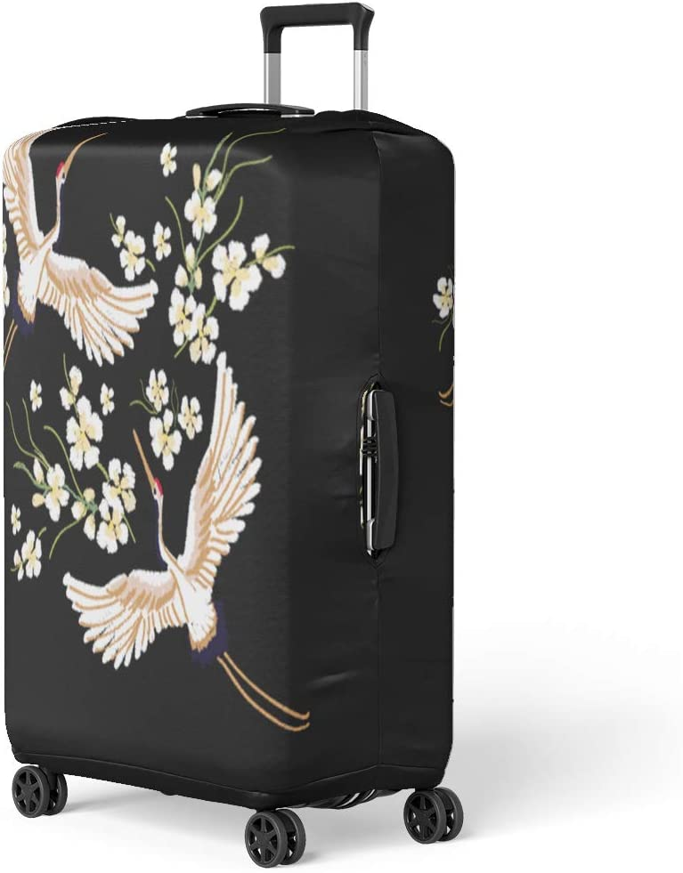 Pinbeam Luggage Cover Watercolor Flamingo Peonies Hand Bright Exotic Birds Standing Travel Suitcase Cover Protector Baggage Case Fits 22-24 inches