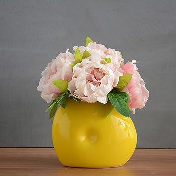 Amazon De Kunstliche Blumen Gefalschte Blumen Mit Vase Hochzeit