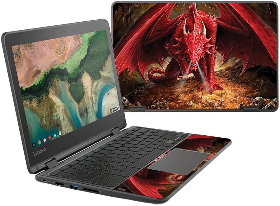"""MightySkins Skin Compatible with Lenovo 300e Chromebook 11.6"""" (2018) - Angry Dragon 