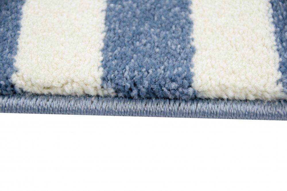 Kinderteppich Maritim Kinderzimmerteppich Jungen Teppich mit Anker Blau in Blau Anker Creme Größe 160x230 cm 80a7af