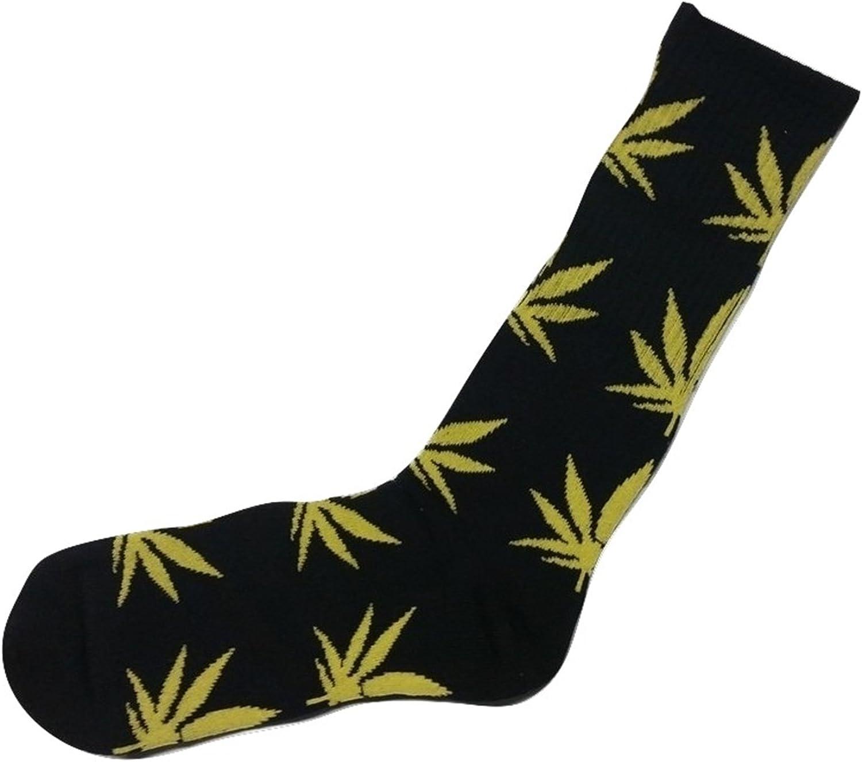 Bcurb Mens Marijuana Weed Leaf Printed Sport Casual Crew Socks Medium Black and Yellow