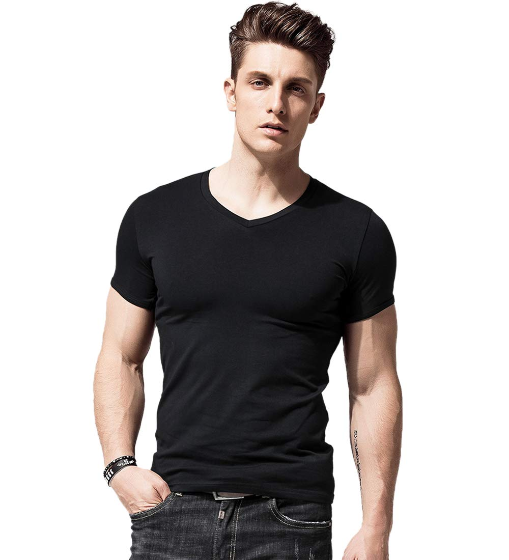 Men Short-sleeved T-shirt Slim V-neck T-shirt Undershirt Summer Sports,Large,v Black