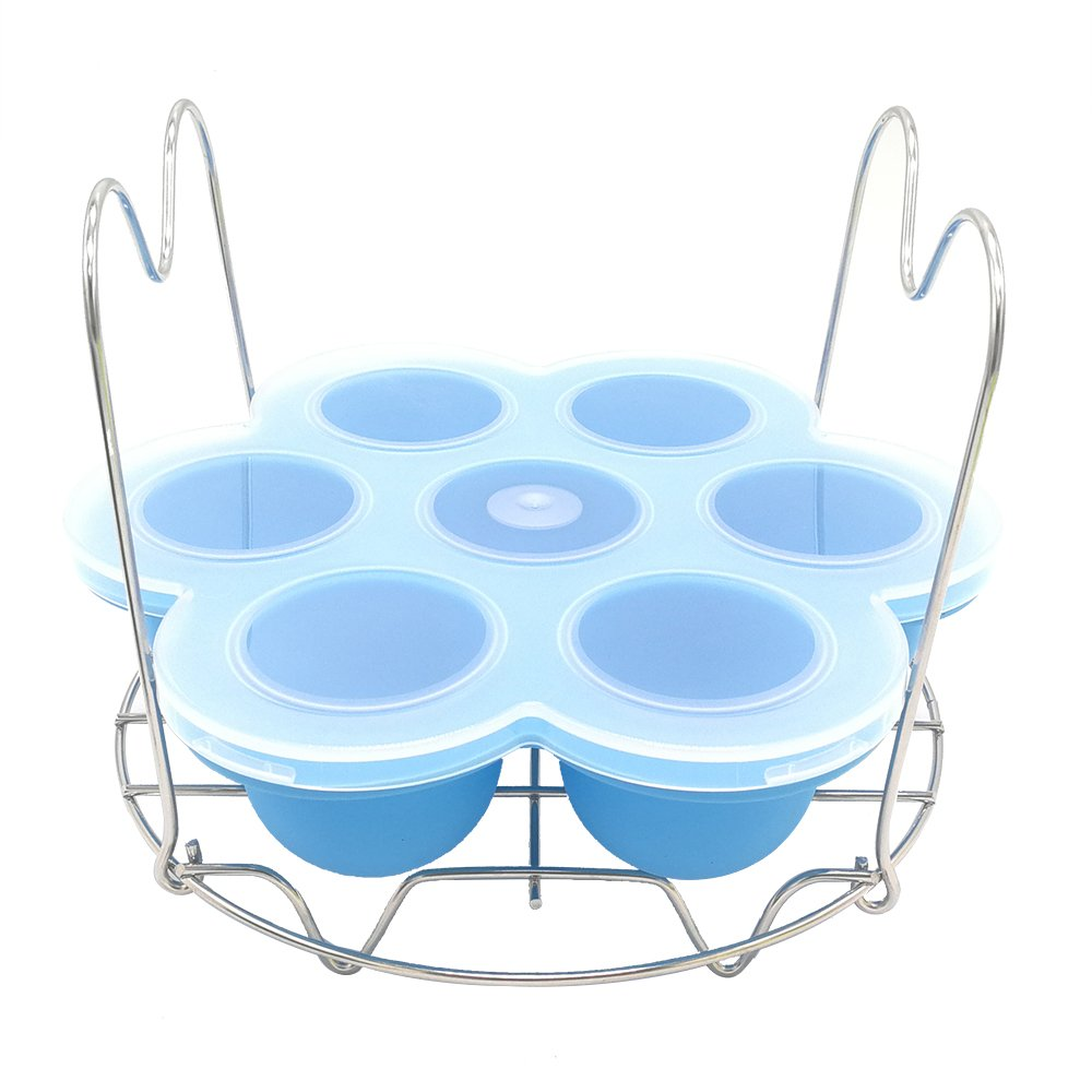 Alamic Silicone Egg Bites Mold + Steamer Rack with Handles Set for Instant Pot Accessories 6 8 qt Pressure Cooker Food Steamer and Reusable Storage Container - 2 in 1