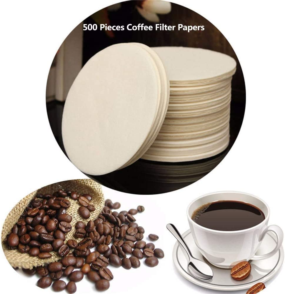 Coffee Filters Paper, Universal Replacement Coffee Filter for AeroPress, Compatible with Coffee Maker, Round Unbleached Paper Filters, Natural Brown, 500 Pieces (Coffee Filters Paper-Brown)