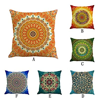 Retro Floral Bohemian Style Geometric Cotton Linen Home Throw Pillow Case