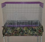 Penn Seed Seed Guard and Catcher Bird Cage Skirt - Oasis Swirly Vine (Medium (44''-88'' Cage Circumference))