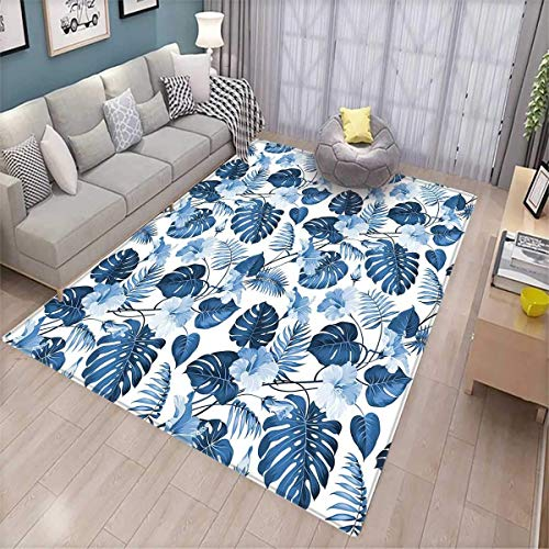 Leaf Girls Rooms Kids Rooms Nursery Decor Mats Palm and Mango Tree Branch and Hawaiian Hibiscus Flower Image Door Mat Indoors Light Blue Turquoise and Dark Blue ()