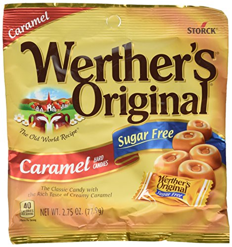 Werther's, Caramel Sugar Free Hard Candy, Original, 2.75 Ounce (Pack of 4) Caramel Sugar Free Candy