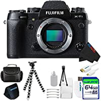 Fujifilm X-T1 Mirrorless Digital Camera Black (Body Only) + Pixi-Basic 64GB Accessory Bundle