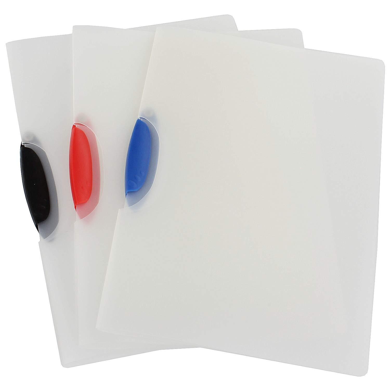 K/&G GP02774 Klemmhefter 3 Stk DIN A4 transparent Colorclip aufklappbar schlicht Klemm-Mappe Hartfolie Hefter Aufbewahrung von Dokumenten Unterlagen