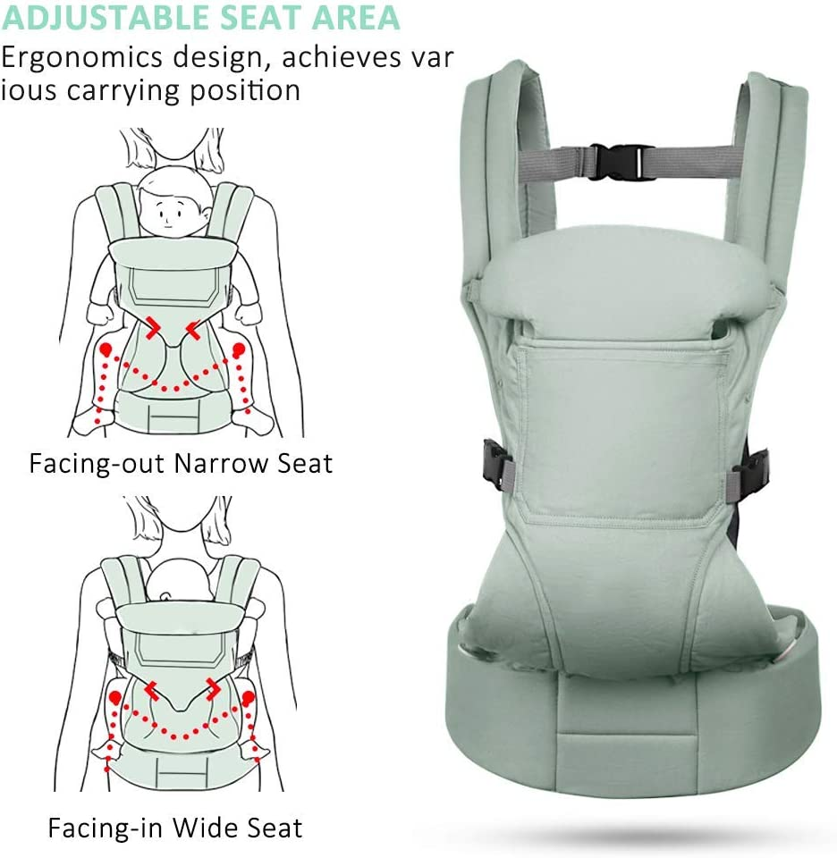 Hommie Soft Adjustable Baby Carrier Backpack Support Multiple Carrying Positions for Nursing 3 to 24 Months Infants and Toddlers Baby Carrier Sling with Front carring and Back Carring Green