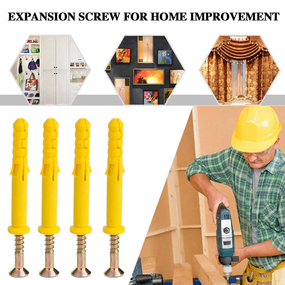 25 Pcs Self Tapping Screws Expansion Column Anchor for Home Photo Frame Trunking Sockets Device Fixing Screw