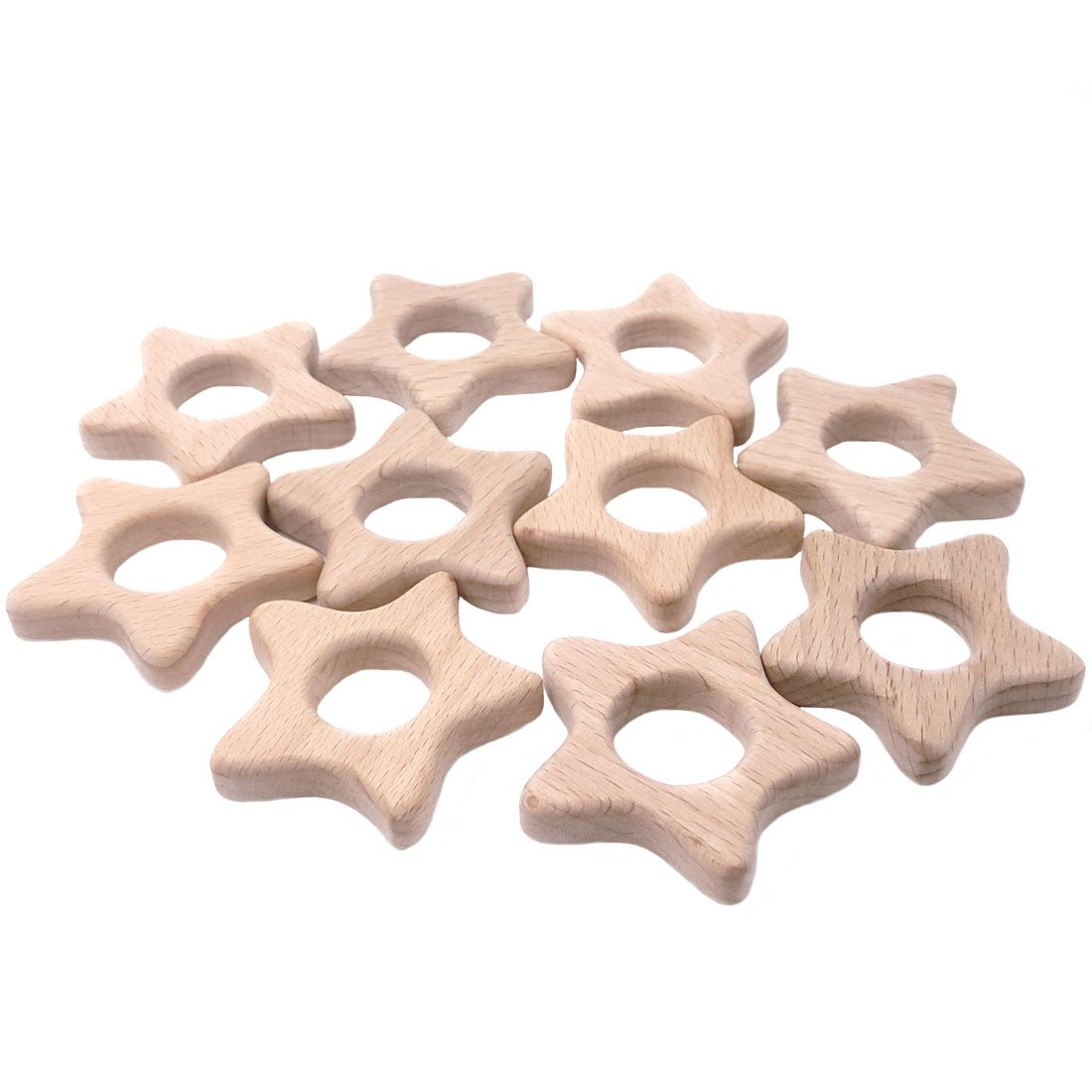 Amyster 5pcs Wooden Stars Teethers Rings Handmade Wooden Toys DIY Pendent Set