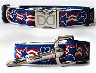 "product image for Diva-Dog 'Stars & Paws' Custom Small Dog 5/8"" Wide Patriotic Dog Collar with Plain or Engraved Buckle, Matching Leash Available - Teacup, XS/S"