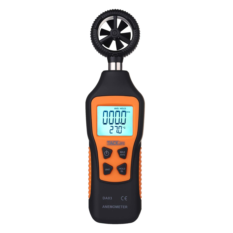 Anemómetro Termómetro, Tacklife DA03 Medidor de Velocidad de Aire (0.8~30.0 m/s), Medidor de Tempetratura (-10℃~60℃), Pantalla LCD Retroiluminada con Linterna, Alta Precisión, Batería Incluida DA03-ES