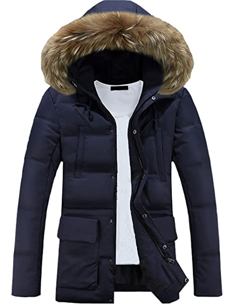 Glestore Herren Wintermantel mit Pelzkragen Winter Baumwolle Kapuzenjacke Outdoorjacke Winterjacke Warm Mantel Schwarzblau XS
