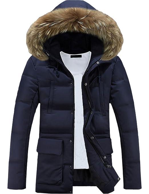 9 opinioni per Glestore Uomo Cappotto caldo con cappuccio Parka Giacca lunga Invernale