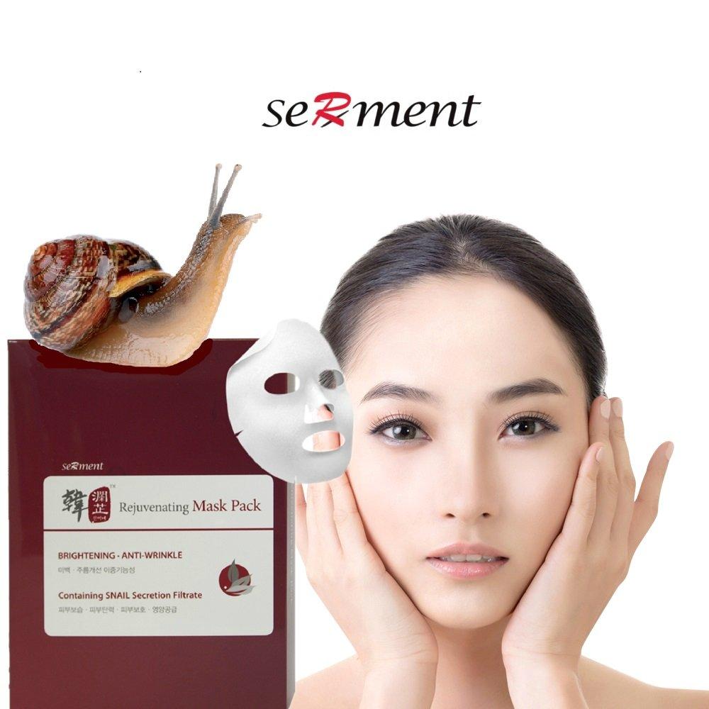 Serment Korean Cosmetics Rejuvenating Snail Mask 10 Pack, Brightening, Anti-wrinkle, Skin Tightening