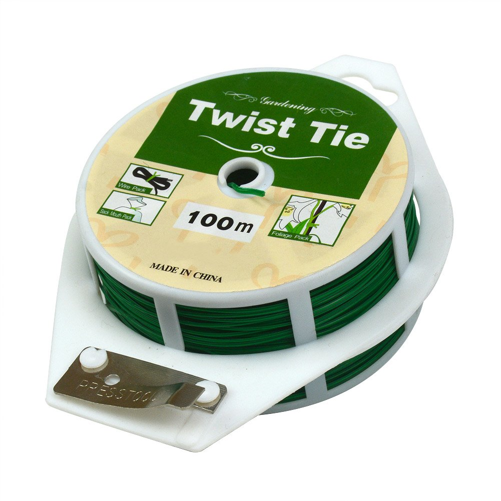 100M Light-Duty Soft Green Package Multi-purpose Gardening plant Twist Tie with Cutter by Gardeningwill