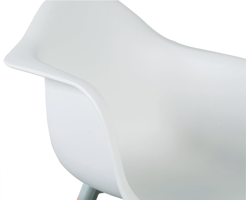 eSituro SDC0014-4 Pack de 4 Sillas de Comedor Silla de Oficina con Reposabrazos Silla Cocina PP Dise/ño N/órdico Patas Madera Blanco