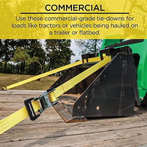 SmartStraps 14-Foot Ratchet Straps (2pk)-5,000 lbs Break Strength-1,667 lbs Safe Work Load Commercial Tie-Downs Designed for Heavy-Duty Cargo Transport-Safely Haul Your Equipment-Flatbed or Trailer by SmartStraps (Image #2)