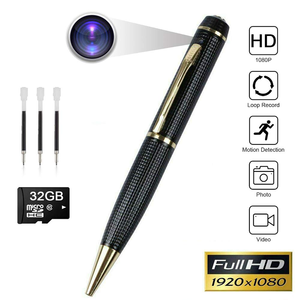 Spy Pen Camera,Hidden Pen Camera HD1080P Mini Pen Camera Potable Cam for Business and Conference with 32GB Micro Memory Card and 3 Ink Refills