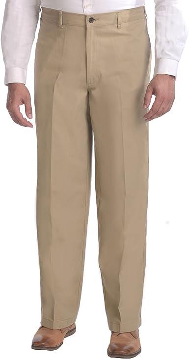 Amazon Com George Pantalones De Vestir De Sarga Media Elastica Para Hombre Color Arena Caqui Clothing