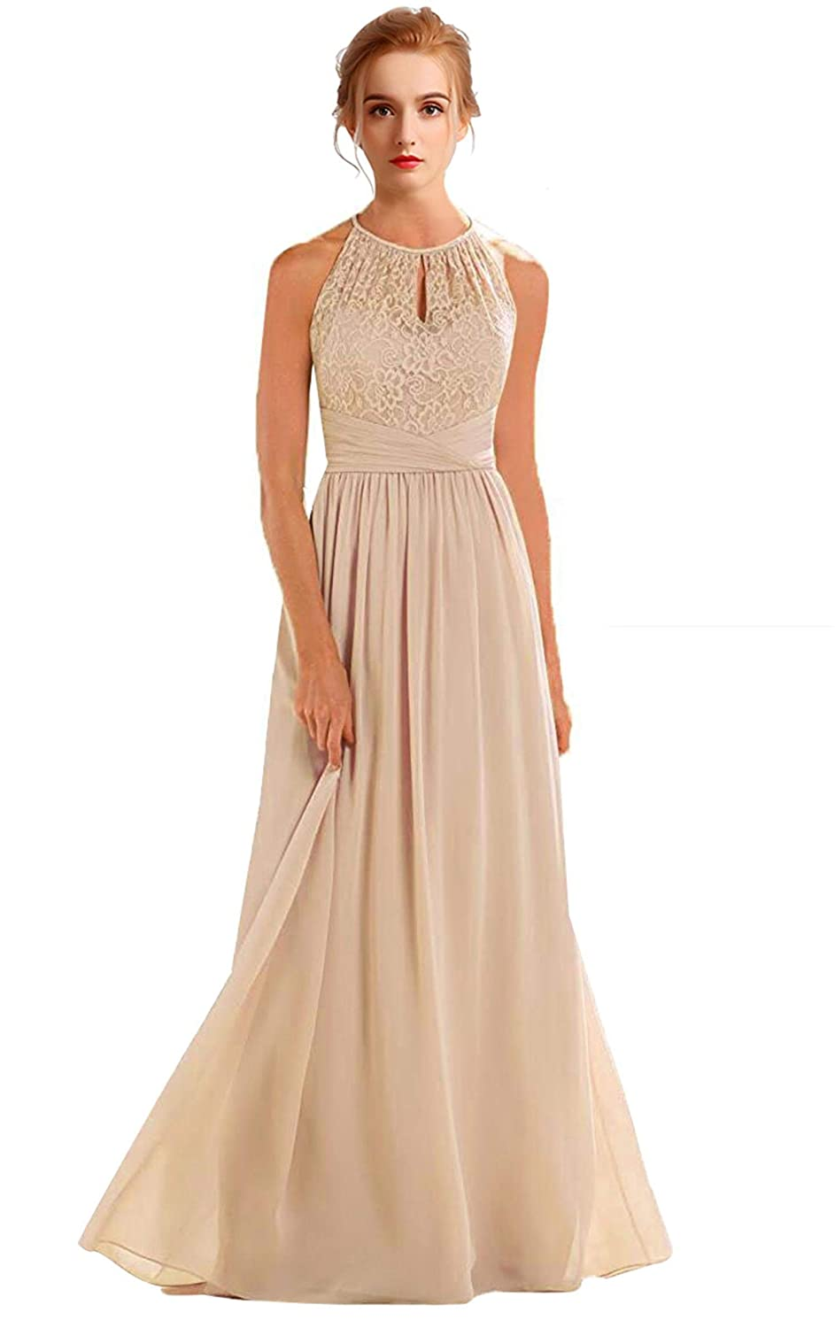 Champagne VaniaDress Women Halter Sleeveless Long Evening Dress Formal Gowns V266LF