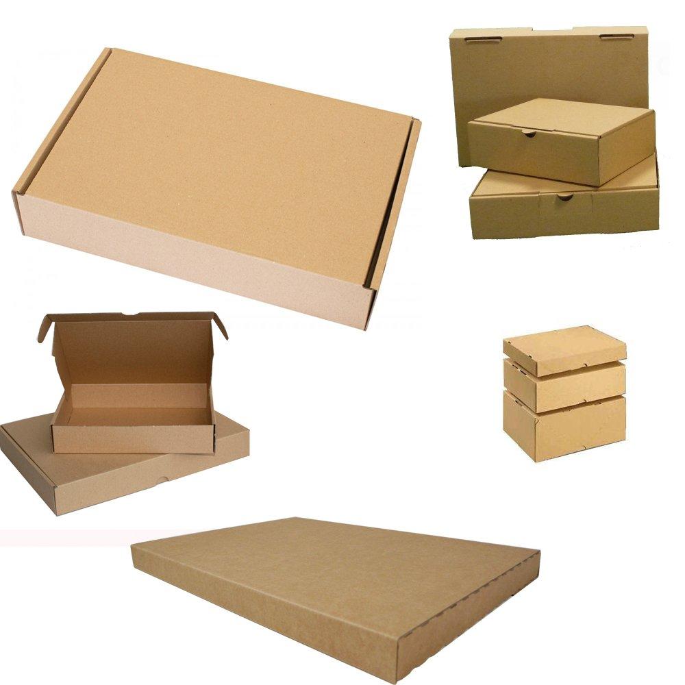 Scatole pieghevoli in cartone per spedizione di merci, per lettere in formato grande, 350 x 250 x 20 mm 50 pezzi marrone D`Sema