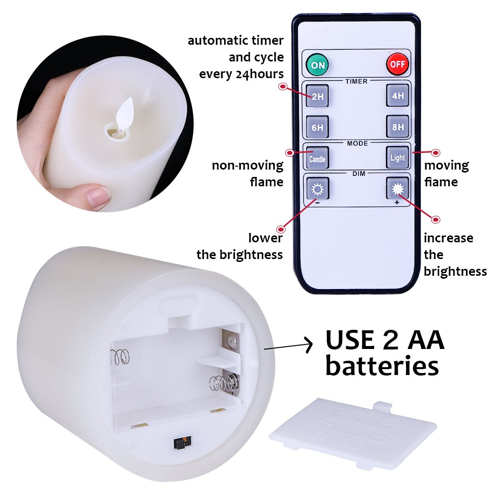 Flameless Candles Flickering Light Pillar Real Smooth Wax with Timer and 10-key Remote for Wedding,Votive,Yoga and Decorationset of 6 by ZTD (Image #3)