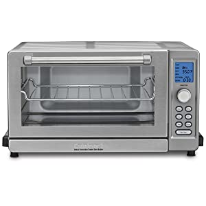 "Cuisinart TOB-135 Deluxe Convection Toaster Oven Broiler, Brushed Stainless, 9.3"" x 18.3"" x 15.3"", Silver"