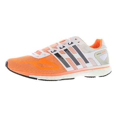 adidas Womens Adizero Adios Boost, Orange/White, 9.5 B | Road Running