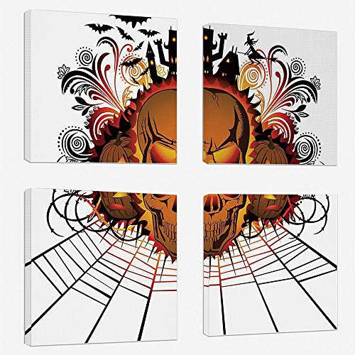 (4pcs/set Modern Painting Canvas Prints Wall Art For Home Decoration Halloween Decorations Print On Canvas Giclee Artwork For Wall DecorAngry Skull Face on Bonfire Spirits of Other World Concept Bats)