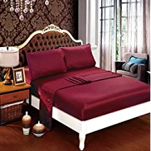 DelbouTree Silky Soft Solid Matte-Satin Bed Sheet Sets Shiny-Free,Deep Pocket Queen 4 Pieces, Burgundy