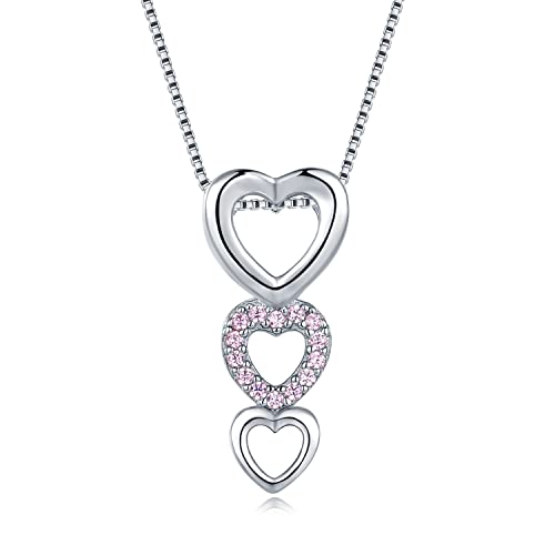 7a891277ed58 Plata de Ley 925 Rosa CZ Triple Corazón Colgante Collar (17 pulgadas) las  mujeres joyas regalo  Amazon.es  Joyería