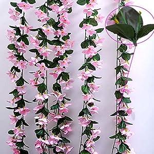 1 Bunch of Artificial Violet Hanging Garland Vine Flower Trailing Bracket Plant By MEXUD (Blue) 5
