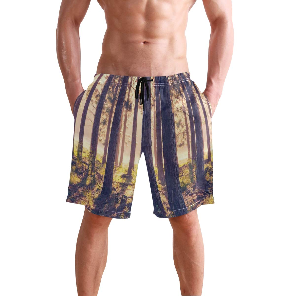 COVASA Mens Summer ShortsWeather Icons Paper