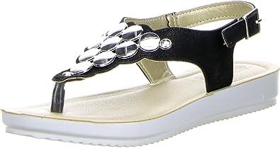inblu Damen Zehentrenner Sandaletten Glitzeroptik silber, Größe:36;Farbe:Silber