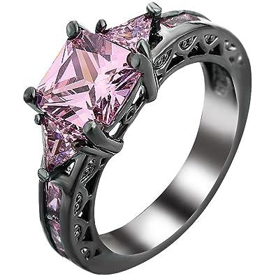 Amazon Com Women Princess Cut Simulated Pink Diamond Black Gold