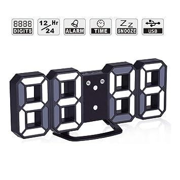 M3M 3D Reloj LED Grande con Pantalla Digital 12/24 Horas Reloj Despertador electrónico 3