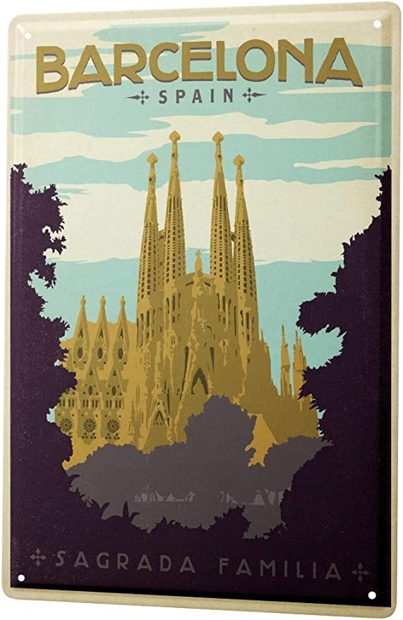 LEotiE SINCE 2004 Cartel Letrero de Chapa Pasión Viajes Ciudad España Barcelona Sagrada Familia: Amazon.es: Hogar