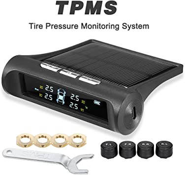 Zmoon TPMS Car Tire Pressure Monitoring System Solar Power Universal Wireless LCD Display with 4 External Sensors Real-time Display 4 Tires Pressure /& Temperature