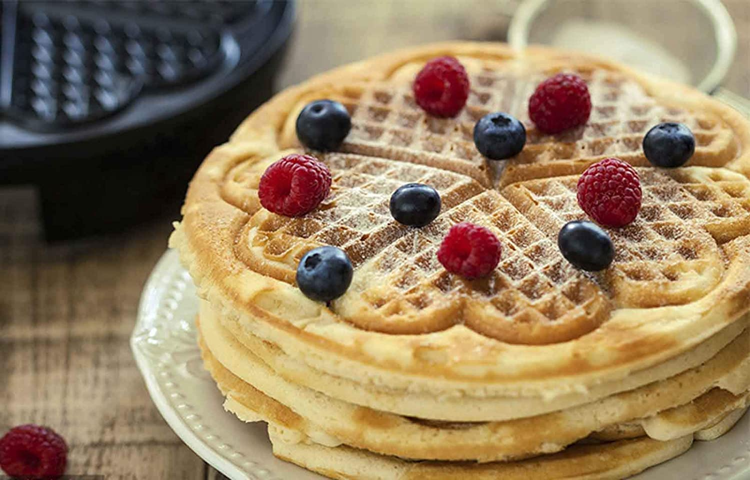 Waffle Maker Electric Double Heart Shape Waffle Iron Waffles DIY Cooking Non Stick Adjustable Temperature Control for Breakfast Dessert Party Home Kitchen Kids