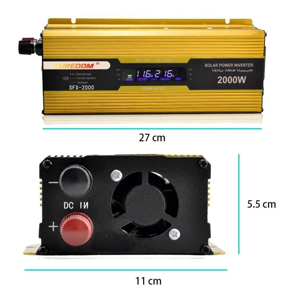 KPL potencia del inversor de onda sinusoidal pura 2000W de alta DC 12V a 220V de CA de onda sinusoidal de alimentaci/ón de CC for inversores de la corriente de la bomba de mama port/átil Smartphones Tab